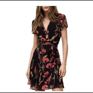 YUMI KIM BLACK FLORAL KENNEDY WRAP DRESS